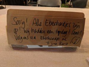 Sorry de Eberhardjes zijn uitverkocht